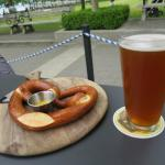 local craft beer and pretzel - perfect snack