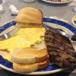 steak eggs and sour dough toast