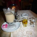 Cafe latte, & shots