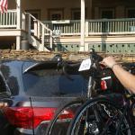 "Preparing their bicyces for the ""Farm to Fork Fondo."""