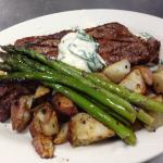 Black Angus New York Strip with Blue Cheese and Spinach topping