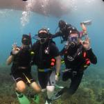 My colleague and I with Nicholas, our PADI diving instructor