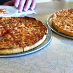 Two of the three pizzas we got yummy