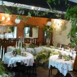 We had large arrangements in the windows and greenery hanging from the ceiling.