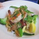 Slivered fennel and prawns over almond encrusted petrel sole