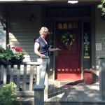 Welcoming wreath on the front door