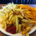 hallibut and enough chips for 2 people...