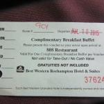 Breakfast coupon to be presented in the dining room