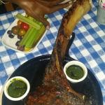 The Tomahawk Rib Eye steak on the bone