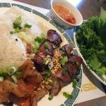 Grilled shrimp & beef (stuffed onion), served with rice vermicelli, lettuce & herbs. Flavorful b