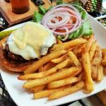 Turkey Burger - infused w/ Sagamore Stout & cranberries, topped with cheddar & a maple-mustard a