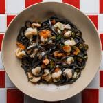 squid ink & prawn linguini