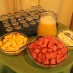 Breakfast juice and fruit