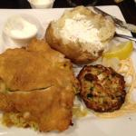 Stuffed chicken breast and crab cake