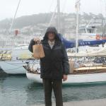 Andy with our bag of pasties in Dartmouth!!