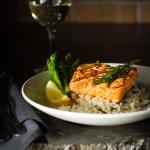 Grilled Coho Salmon with Lemon Rosemary Butter