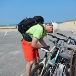 bike racks at the beach 3 minute ride away