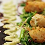 Tempura Scallops with a wakami, coriander, shallot and snow pea sprout salad and teriyaki glaze
