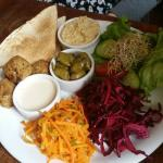 Falafel, houmous, pittas and salad