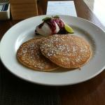Pancakes with Blueberry sauce and cream
