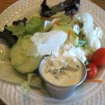 Salad with bleu cheese dressing