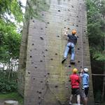 The family enjoying the climbing wall