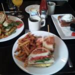Sorry about the blur! Triple decker and stuffed french toast.