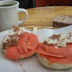 seafood combo on onion bagel $8.75 ... and my favorite santa cruz dark coffee.
