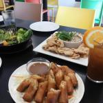 July 11, 2015 vegetable spring rolls, crispy tofu, fresh salad, orange ginger juice
