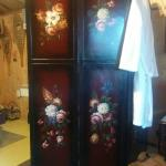 Japanese screen with toilet behind it. You can see the sink to the left -- just below the snow s