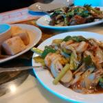 Fried tofu and shrimp, combo lomein, garlic shrimp, Mongolian beef, salt pepper shrimp