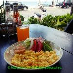 Breakfast at outdoor with sea-view