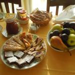 The suptuous breakfast... the fruit and the torta tenerina to die for!