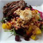 beet salad with steak