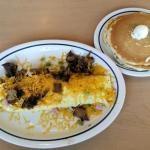 Colorado omelet and pancakes