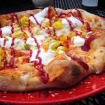 Buffalo Chicken Pizza with raspberry sauce!  Yum!