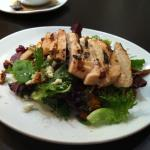 1/2 Carmelized Peach Dinner Salad with grilled chicken and dressing on the side