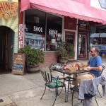 Outdoor seating along sidewalk