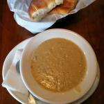 Cream of Artichoke Soup and garlic bread
