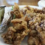 Chicken liver dinner with salad