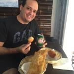 Enjoying Brazilian food. :)