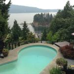 Pool/patio with view of Burrard Inlet