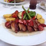 Duck with caramelised strawberries and asparagus