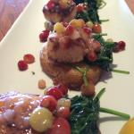 Gooseberry grilled scallops. With sautéed spinach and yellow potatoes. Excellent and just the ri