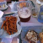 Sweet potato fries with the cheeseburgers