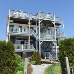A view of the Treadwell Inn from the back. Easy access to patio rooms from the deck structure at