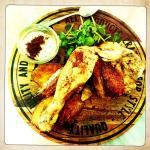 Rotisserie chicken, roast potatoes, watercress, mayonnaise