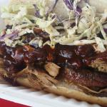 Pulled Pork BBQ sandwich with Coleslaw on top