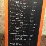 Blackboard with wine menu
