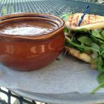 Roast Beef Grilled sandwich with Beef Soup-Sandwich falls apart when handled